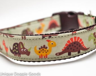 Orange, Brown Dinosaurs Custom Dog Collar/Buckle or Martingale/Adjustable