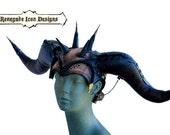 Leather, Horned Head Piece, head wear, Burning Man, Warrior, Beast, Play Wear, Custom : Renegade Icon Designs