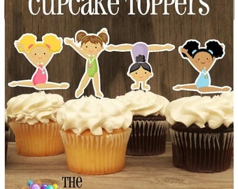 Gym Girls Party - Set of 36 Assorted Gymnast Cupcake Toppers by The Birthday House