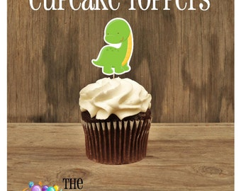 Dino Friends Party - Set of 12 Green Dinosaur Cupcake Toppers by The Birthday House