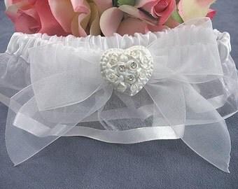 Rhinestone Pearlized Heart Rose Bouquet Wedding Garter - SKU6363