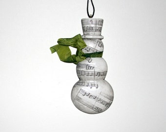 CLEARANCE - Snowman Ornament - Ceramic Music Stamped and Embossed with Hand-dyed Vintage Ribbon - Light Green - Christmas Tree Decor