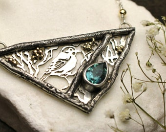 Blue Tourmaline, 14k Yellow Gold, Gold Filled & Sterling Silver BIrd Cutout Necklace