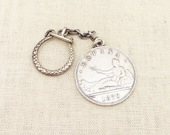 SALE --- Antique 1870 Spanish 5 Pesatas Silver Coin Keychain with Unique Serpent Clasp