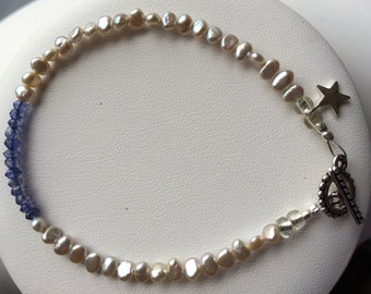 Bracelet - Pale Grey Freshwater Pearls, Faceted Iolite, Sterling Silver Star Charm