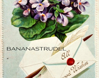 1910s Heavily Embossed Flowery Postcard. All Good Wishes