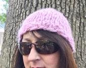 Pink Hand Spun Knit Hat Woman's Warm Winter Cap