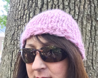 Pink Hand Spun Knit Hat Woman's Warm Winter Cap