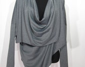 Woman clothing, travel fashion, multi way bolero shrug, versatile top, 7 in 1, long sleeves, gray, one size