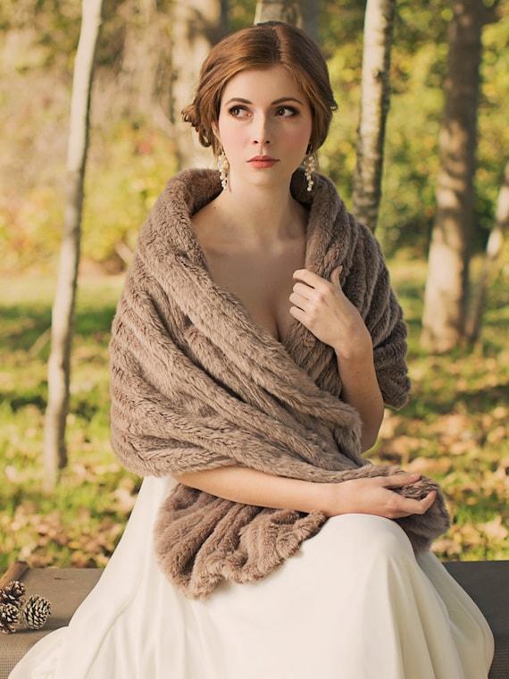 Bridal fur stole wedding shawl faux fur wrap by davieandchiyo for Winter shawls for wedding dresses