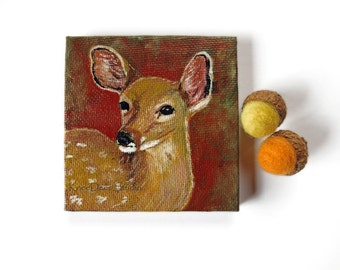 Miniature Deer Painting tiny fine art animal totem acrylic on canvas mini woodland wildlife portrait with easel earthy brown art for shelf