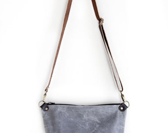 Waxed Canvas Day Bag Purse in Charcoal