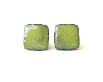 Small Greenery Earrings. Square. Pear Green. Clay. Ceramic. Porcelain. Yellow Green. Olive. Lime. Post Earrings. Surgical Steel. Minimalist