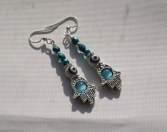 Hamsa Hand White Evil Eye Earrings Teal Turquoise Amulet Earrings