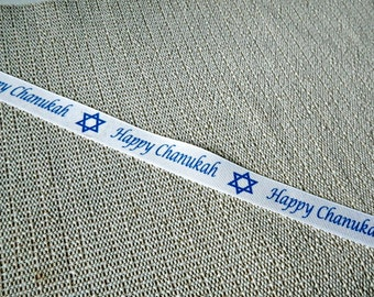 7/8 in. Happy Chanukah printed grosgrain ribbon by the 1, 5, or 10 yards White ribbon with blue words & Star of David DIY supplies gift wrap