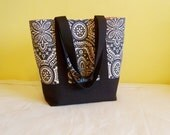 LARGE TOTE Canvas, Carry All, Bible Book Tote, Work Laptop Tote, Weekender, Teacher, Diaper Bag. Charcoal Damask & Black Canvas.