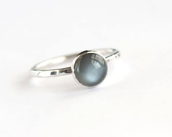 Plumeria - Black Moonstone and Sterling Silver Ring