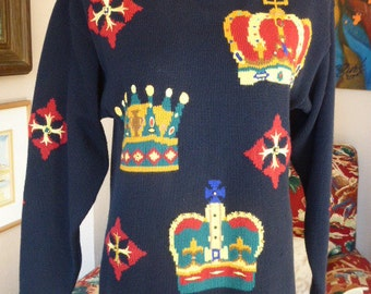 1980s Baroque/Regency Trophy Sweater with CROWNS Slouchy Oversized