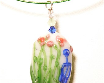 Pink, White, Green, and Cobalt Blue Flower Lampwork Focal Bead Pendant on Steel Choker Necklace