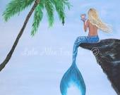 """Mermaid Painting Mermaid Art Blonde Mermaid Wall Art Decor Mermaid Theme   """"Mermaids Beautiful Reflection""""  Leslie Allen Fine Art Mermaid"""