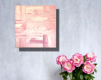 "Abstract contemporary modern painting 18"" x 18"" in a multitude of pinks."