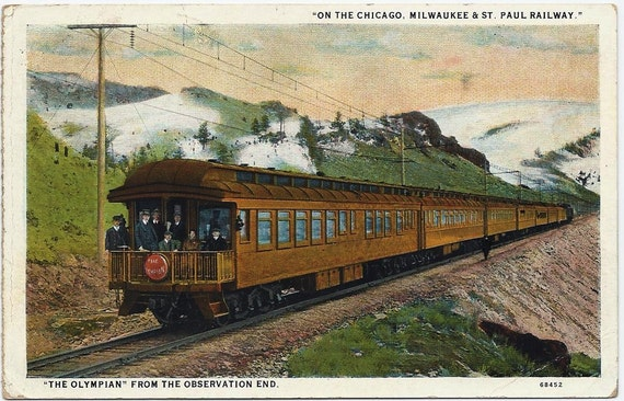 Vintage Train Postcard 20s Chicago Milwaukee & St Paul Railway The Olympian Train One Cent Green Washington Franked Stamp Souvenir