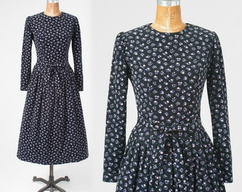 Boho Maxi Dress, Black Corduroy, Floral Maxi Dress, Vintage Lanz Brand, Black Cotton, Prairie Dress, Women's, Clothing, Dresses