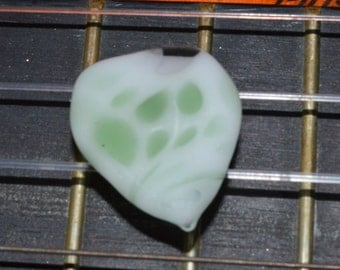 Glow in the Dark Guitar Pick with Green Accents - Handblown Glass