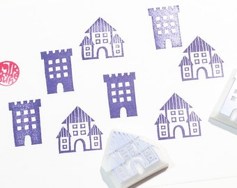 old castle stamps. building hand carved rubber stamp. village stamp. christmas holiday crafts. fairytale birthday. scrapbooking. set of 2