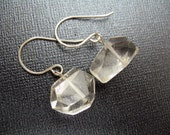 Faceted Large Quartz Earrings with Sterling Silver - Large Sparkle Sparkly Crystal Faceted Stone Earrings