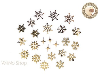Snowflake Mixed Ultra Thin Metal Decoration Nail Art - 24 pcs