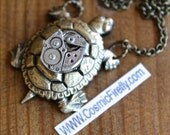 Big Steampunk Necklace Brass Turtle Vintage Bulova Watch Movement Victorian Nautical Sealife Jewelry Rustic Antiqued Brass Rolo Chain