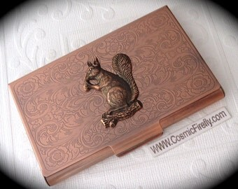 Copper Business Card Case Copper Squirrel Steampunk Card Case Card Holder Gothic Victorian Style Card Case New Copper Squirrel Card Holder