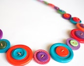 Bright multicolour button necklace handmade with hand dyed upcycled buttons.