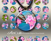 1 inch (25mm) and 1.5 inch size Circle Images CHERRY BLOSSOM Digital Collage Shee Printable Download for pendants bottle caps bezel cabs