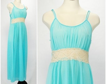 Vintage Blue Nightgown, Long Turquoise Goddess Nightgown, Blue Full Length Night Gown with Cream Lace Empire Waist, Size M Lingerie