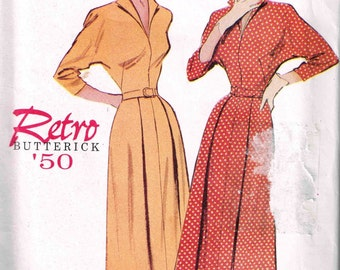 Fitted A Line Dress with Collar Three Quarter Sleeves Sewing Pattern Vintage 1960s Butterick 6238 Size 8 10 12 Bust 31.5 32.5 34