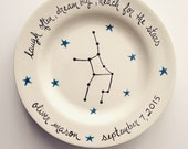birth gift, baby gift, first birthday personalized hand painted astrological sign birth plate