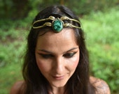 SALE was 136USD - Elven Fairy Pixie Brass Goddess Malachite Crystal Stone Leaf Tiara Crown Head Piece OOAK