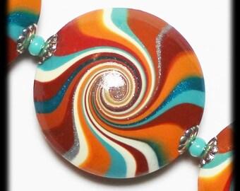Wild West... Handmade Polymer Clay Beads Bead Set Turquoise Teal Terra Cotta Orange Aqua Silver Lentils Swirl Spiral Bead Caps Fiesta Sunset
