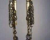Victorian Amethyst Rifle Casing Bullet Earrings