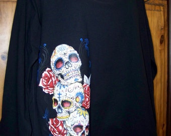 Women's plus size 3X, sugar skulls t-shirt, plus size tattoo, plus size roses, plus size