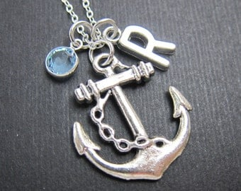 Anchor Necklace - Personalized handstamp Initial Name, Customized crystal birthstone