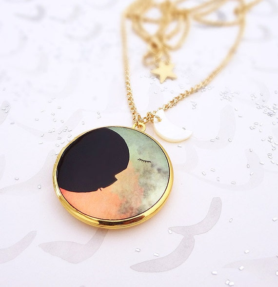 Two Moons Locket Pendant Necklace