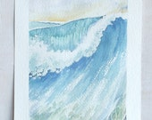 blue cresting wave sea watercolor painting wall decor