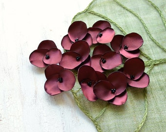 Hydrangea Blossoms- Handmade satin sew on flower appliques,  fabric flowers, flowers for crafts, floral embellishments (10 pcs)- BURGUNDY