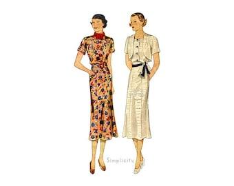 Simplicity 2020, 1930s Dress Pattern with Bolero Jacket, Sleeveless Deep V Back Dress, Paneled Skirt, Bust 36 Vintage Sewing Pattern