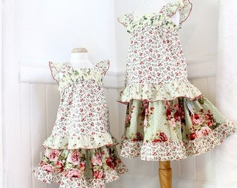 Floral Rose Little Girl's Outfit Boho Girl Clothes Pink Green Red Tiered Twirl Skirt Ruffled Top Set Spring Girls Clothing Size 2T 3T 4 5 6