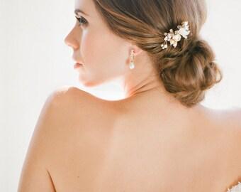 MIGNON pearl bridal hair pin in silver or gold