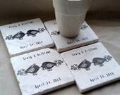 Personalized Wedding Favor Coasters - Flourish Love Bird Design - Set of 70
